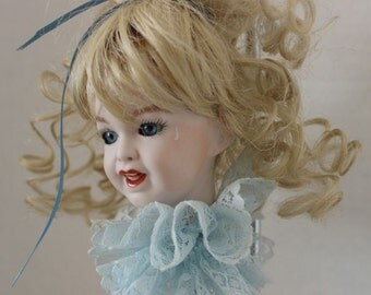 Beautiful Artist Designed German Repro Doll Head Ornament w Blonde Hair