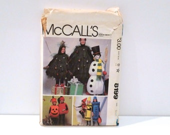 Halloween Costume Sewing Pattern Christmas Tree Snow Man Costume FF Uncut McCalls 8199 Crayon Costume Size Small Unisex Adults Free USShip