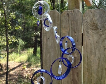 GLASS WINDCHIMES from RECYCLED bottles, handmade,  eco friendly clear blue mix, garden decor, wind chimes, windchimes, mobile
