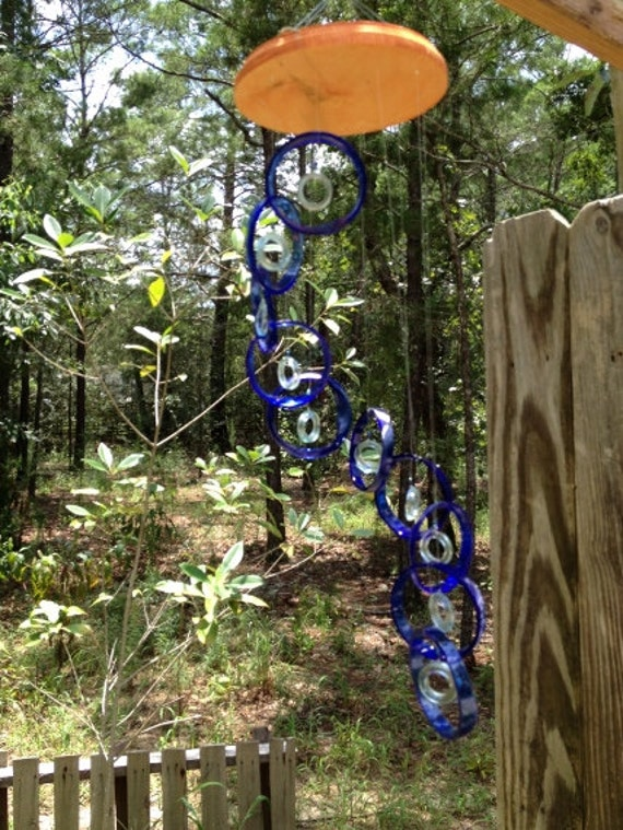 GLASS WINDCHIMES from RECYCLED bottles, eco friendly, blue clear, garden decor, wind chimes, mobiles, musical, windchimes