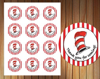 Dr Suess Thank you sticker, thank you tag, Dr Suess Party, Printable
