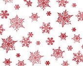 Snowflakes, Holiday Elegance by Quilting Treasures, Red Snowflakes, Red Fabric, Christmas Fabric, 11010