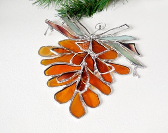 Amber Pinecone. Stained Glass Suncatcher. Pinecone. Made To Order.