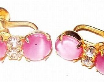 "Pink Moonstone Rhinestone Earrings Screw On Backs Gold Metal 1"" Vintage Mid Century"