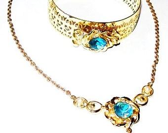 Necklace Pendant Bracelet Demi Set Aqua Blue Rhinestones Gold Metal Fashion Set Mid Century Vintage