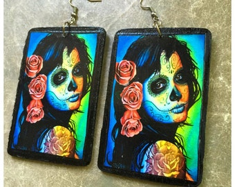 Por Vida y Por Muerte- Day of the Dead wooden earrings