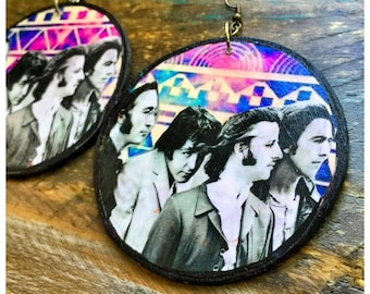 The Beatles large circular wooden earrings