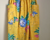 60s Hawaiian Skirt // High Waist Yellow Retro Flare A Line Midi Skirt Knee Length Sailboat Aloha Palm Tree // XS S M L  Small Medium Large