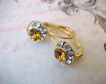 Pretty and Dainty Earrings with Topaz Colored Rhinestones