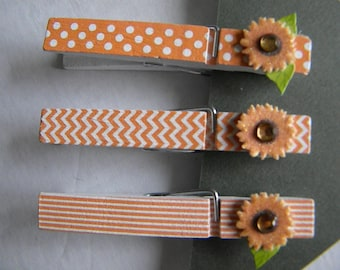 Set of 3 Clothespin Magnets With Orange Chevron, Spotted and Lines With Sunflowers, Teacher, Gift Idea, Organize, Orange and White,