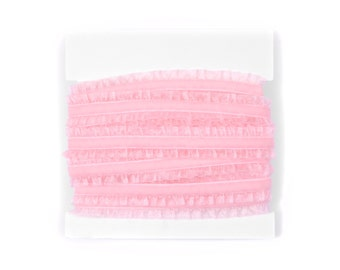 5/8th inch Wide Double Ruffle Velvet Elastic for Baby Headbands - 5 or 10 yards - Light Pink