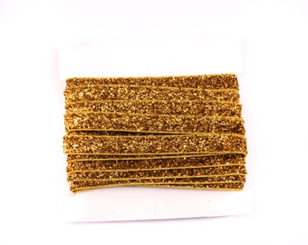 Glitter Elastic, stretch 3/8th inch For Glitter Headbands and Hairties- 5 or 10 yards - Gold