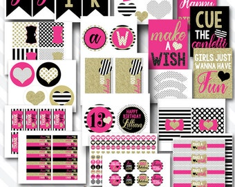 Personalized Diy Printable Kate Chic Birthday Party Digital Party Package