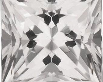 Natural White Topaz Gemstone Princess Size 5 mm, 6 mm, 7 mm