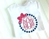 Monogrammed Girl Bodysuit - Bow Monogram Bodysuit - Baby Girl Bodysuit - Baby Girl Clothing - Newborn Gift - Baby Shower Gift