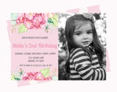 Girls Photo Invitation Delicate Floral Party Invite First Birthday Pretty Tea Printable Whimsy Celebration