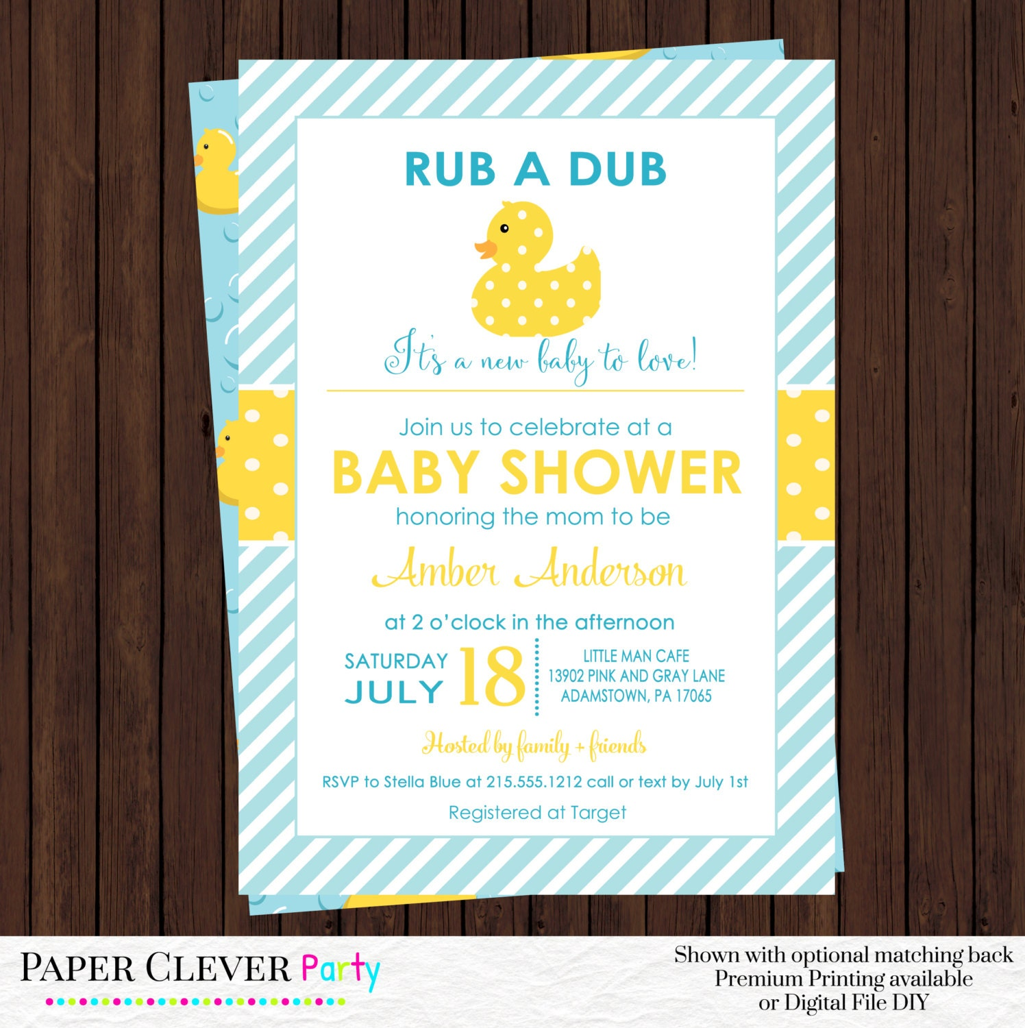 yellow duck baby shower invitations neutral by papercleverparty