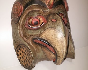 Vintage Karura Garura Noh Mask - Hand Carved, Hand Painted - Japanese Hindu-Buddhist Mythology - Unique Coloring