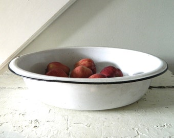 Vintage White Enamel Bowl Large