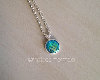 BLUE-GREEN mermaid scale necklace