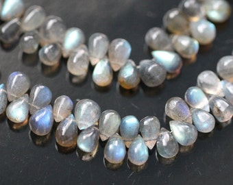 Blue Fire Labradorite Smooth Tear Drop Briolettes, 8 - 9 mm, 6 beads GM1801SD/9/6