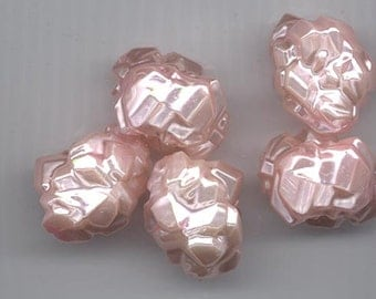 Six uniquely beautiful vintage lucite beads - rocky pearlescent light pink surface - 24 x 18 mm