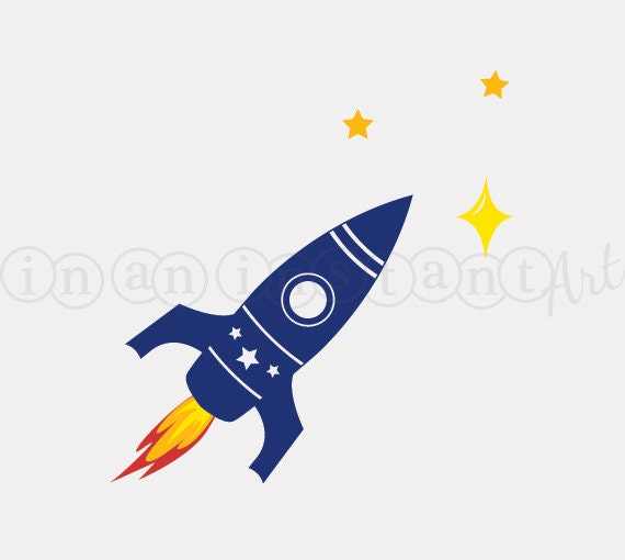 Rocket vinyl wall decal for outer space nursery or kids for Outer space vinyl wall decals