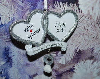 Personalized Silver Glitter Hearts We're Engaged Christmas Ornament
