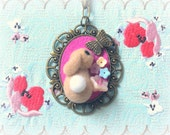 Needle felted bunny with butterfly necklace, handmade beige rabbit pendant necklace, Easter jewelry, lolita accessories, gift under 25