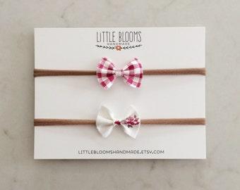 Linen Bow Headband - pinks