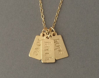 Personalized Gold Fill Tag Necklace also available in Silver and Rose Gold Fill