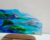 Seascape in Kiln-Formed Glass - Textured Panel in Blue, Green, Purple, White, Clear Glass