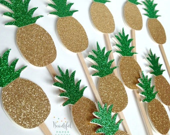 Gold & Green Glitter Pineapple Cupcake Toppers | Tropical Fruit Party | Gold Glitter Pineapple Party | Gold Luau Party | Donut Topper