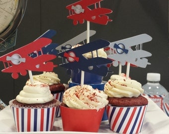 Vintage Airplane Cupcake Toppers | Vintage Airplane Baby Shower | Airplane Birthday | Gray, Navy, Red Set of 12