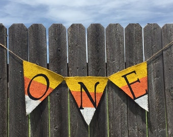 FIRST BIRTHDAY Candy Corn Burlap Banner / Bunting / Photo Prop