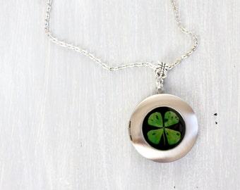 Clover locket necklace - Four Leaf Clover Resin Necklace - 4 Leaf Clover