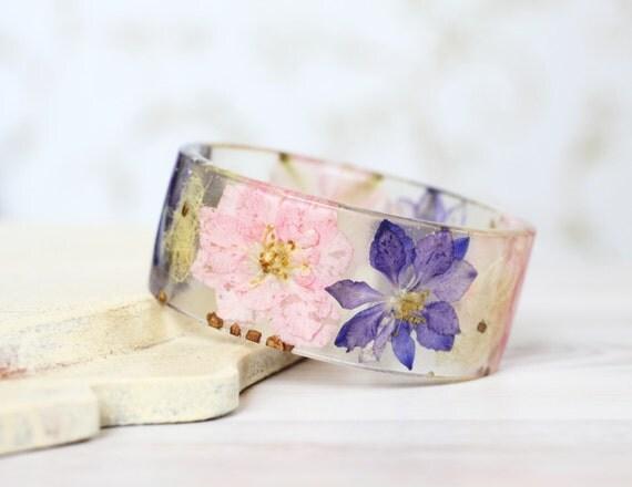 Pink and Purple Larkspur bracelet - Epoxy resin bracelet - Real flower Bracelet