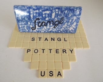 Original Stangl Dealer Sign, Town & Country Blue Pattern Dinnerware, Flemington, New Jersey, Circa 1974-1978