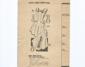 Vintage 1930s Apron Pattern with Morning Glory Transfer Marian Martin 9091