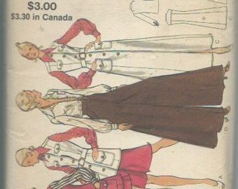 Vintage 1970s Misses' Jacket or Jumper, Pantskirt and Shirt Sewing Pattern Vogue 8293