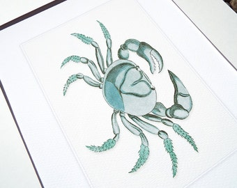 Ocean Blue Crab Archival Print on Watercolor Paper
