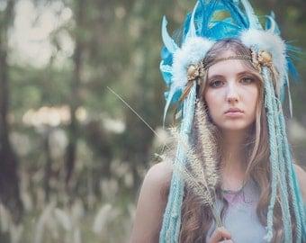 Aqua & Gold Indian style feather Headdress - Indian - Festival - Pageant - Rave - burlesque - boho - handmade.