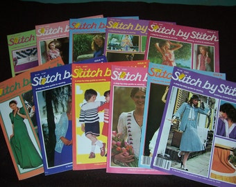Collection of 11 Vintage 1970's and 1980's Stitch by Stitch Magazines..Crochet and Knitting and Needlework Books...Neat Mid Century Patterns