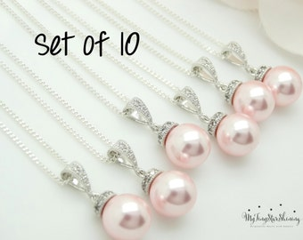 Set of 10 Pink Pearl necklace Pink Pearl Jewelry Bridesmaid Jewelry Bridal necklace Grey Pearl Wedding Jewelry Set 15% Off