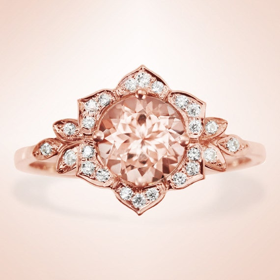 morganite engagement ring vintage ring by
