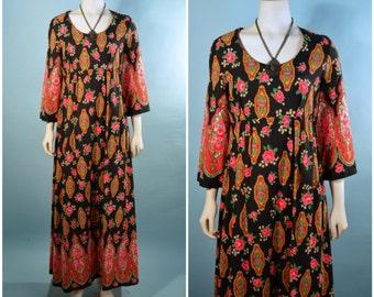 Vintage 70s Black Floral Boho Hippie Maxi Dress/Empire Waist Festival Concert Bohemian Gypsy Dress/Russian Paisley Bell Sleeve SZ M