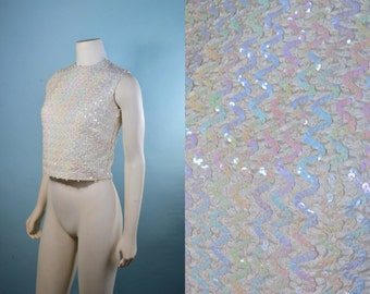 Vintage 60s Cream Iridescent Sequin Ribbon Sweater Shell/ GO GO Disco Dance Top/ 60s Mod Sparkle Sweater PINUP Party Top S