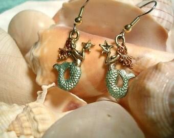 Mermaid Earrings. Hand Painted.