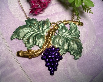 Large Purple  Grape  Necklace . Hand Painted .