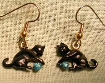 Playful  Black  Kitty and Yarn Earrings